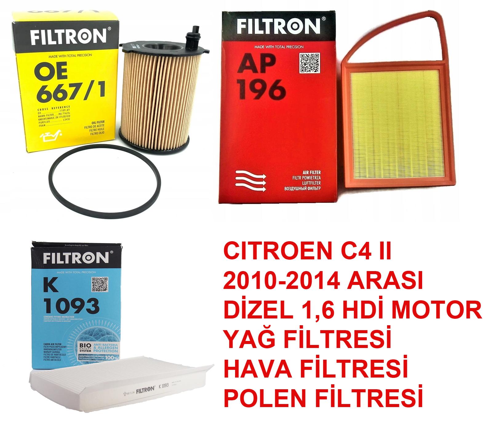 CITROEN C4 II 2010-2014 1,6HDİ HAVA POLEN YAĞ FİLTRE SETİ FILTRON